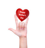 Happy mother's day Red heart in woman hand vector illustration