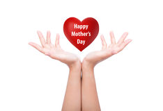 Happy mother's day  Red heart in woman hand Stock Images