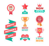 Happy Mother's Day, ribbons, trophy and heart elements Stock Image
