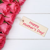 Happy mother's day with roses flowers and greeting card Royalty Free Stock Photography