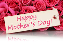 Happy mother's day with roses flowers Stock Photos