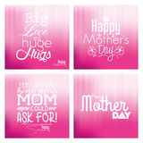 Happy mother's day. Set of backgrounds with text for mother's day. Vector illustration Royalty Free Stock Photography
