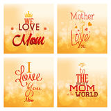 Happy mother's day. Set of backgrounds with text for mother's day. Vector illustration Stock Photo