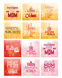 Happy mother's day. Set of colored backgrounds with text for mother's day. Vector illustration Stock Photo