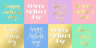 Happy mother's day set of pastel and golden cards. Stock Photography
