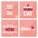 Happy mother's day. Set of pink backgrounds with text for mother's day. Vector illustration Royalty Free Stock Images