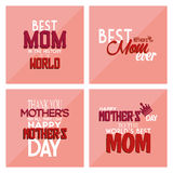Happy mother's day. Set of pink backgrounds with text for mother's day. Vector illustration Stock Image