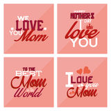 Happy mother's day. Set of pink backgrounds with text for mother's day. Vector illustration Royalty Free Stock Photo