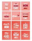 Happy mother's day. Set of pink backgrounds with text for mother's day. Vector illustration Stock Photography
