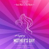 Happy Mother's Day with Silhouette of a mother and child background colorful burst Royalty Free Stock Photography