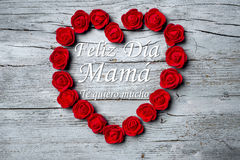Happy Mother`s Day, spanish language. Happy Mother`s Day, `Feliz día mama` Happy day mom in spanish language and `Te quiero mucho` I love you very much in stock photos