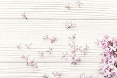 Happy mother`s day. spring flat lay with tenderl lilac flowers i Stock Image