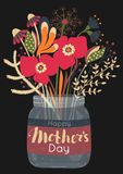 Happy Mother`s day. Spring holiday. Congratulatory background bouquet of flowers in glass jar. Lettering Stock Images
