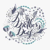 Happy Mother`s day. Spring holiday. Congratulatory background with lettering in flowers. Floral design. It can be used for card, postcard, invitation, banner Stock Photos