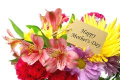 Happy Mother's Day tag in flower bouquet Stock Photos