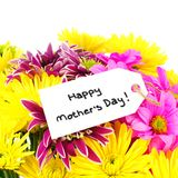Happy Mother's Day tag with flowers Royalty Free Stock Photo