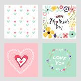 Happy mother`s day template cards set. And vector illustration Stock Photos