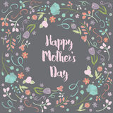 Happy Mother's Day Text with Floral Frame, Colorful Flower Border Royalty Free Stock Photography