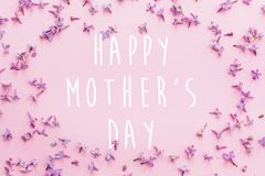 Happy mother`s day text, greeting card. beautiful lilac purple p. Etals flowers on pink background, flat lay. modern image. stylish floral greetings. mothers day stock photography