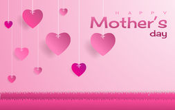 Happy Mother`s day,text and heart shape float on sky. Paper art style stock illustration