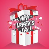 Happy mother`s day. Text with hearts in gift box vector illustration Royalty Free Stock Photo