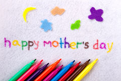 Happy Mother`s Day text. Inscription and felt-tip pens. Develop your imagination. Handmade for moms from kids Stock Image