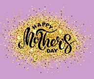 Happy Mother`s Day text isolated on background with golden confetti. Hand drawn lettering as Mother`s day logo, badge, icon. Template for Happy Mother`s day Stock Photo