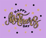 Happy Mother`s Day text isolated on background with golden confetti. Hand drawn lettering as Mother`s day logo, badge, icon. Template for Happy Mother`s day Royalty Free Stock Photo