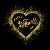 Happy Mother`s day text isolated on background with golden heart. Hand drawn lettering as Mother`s day logo, badge, icon. Template for Happy Mother`s day Stock Photography