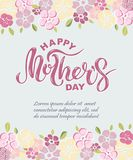 Happy Mother`s Day text isolated on background with pink flowers. Hand drawn lettering as Mother`s day logo, badge, icon. Template for Happy Mother`s day Stock Photography
