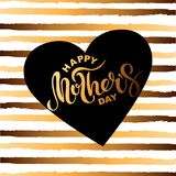 Happy Mother`s Day text isolated on striped background. Hand drawn lettering as Mother`s day logo, badge, icon. Template for Happy Mother`s day, invitation Royalty Free Stock Image