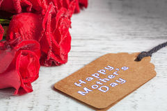 Happy Mother's Day text with roses Royalty Free Stock Photos