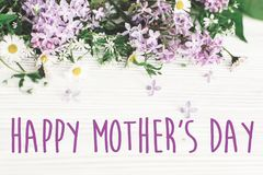 Happy mother`s day text sign. greeting card. gentle pink lilac f