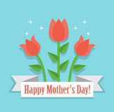 Happy mother's day. Three red tulip and paper ribbon with the wishes of a happy festive day Royalty Free Stock Photography