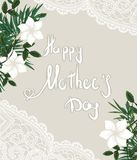 happy mother's day on tropical leaves background. green tropical vector illustration