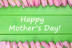 Happy mother's day with tulips flowers Stock Photo
