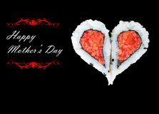 Happy Mother's Day. Two pieces of sushi forming the heart shape, Happy Mother's Day Royalty Free Stock Images