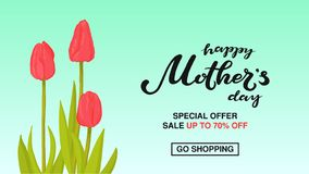 Happy Mother`s Day typography lettering poster on floral frame background. Sale, shopping tag with flower decor. Mothers. Day discount card, banner template vector illustration
