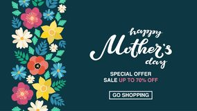 Happy Mother`s Day typography lettering poster on floral frame background. Sale, shopping tag with flower decor. Mothers. Day discount card, banner template royalty free illustration