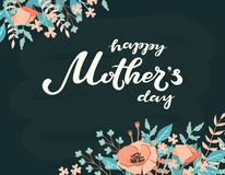 Happy Mother`s Day typography lettering poster on floral frame background. Text and floral decor. Mothers Day greeting. Card, postcard, banner template. Vector royalty free illustration