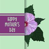Happy Mother`s Day typography lettering poster on floral frame background. Text and hand drawn hibiscus flower decor royalty free illustration