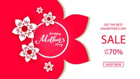 Happy Mother`s Day typography lettering poster on paper art floral frame background. Sale, shopping tag with flower. Decor. Mothers Day discount card, banner stock illustration