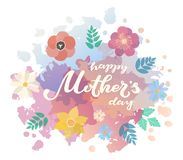 Happy Mother`s Day typography lettering poster on watercolor and flat floral frame background. Text and decor. Mothers. Day greeting card, postcard, banner vector illustration