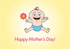 Happy mother's day vector. Cute illustrations for moms. Happy baby with flower. Cartoon character smiling baby Royalty Free Stock Image