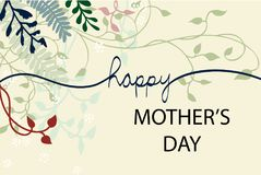 Happy Mother`s day vector design with vines ivy flowers and floral design elements in pretty layout with hand written cursive Stock Image
