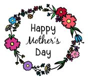 Happy Mother`s Day flower wreath Stock Image