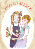 Happy mothers day vintage card with girls Royalty Free Stock Images