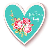 Happy Mother`s Day. Vintage card with pink roses and heart shape Royalty Free Stock Photo