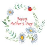 Happy Mothers Day. Watercolor floral frames.