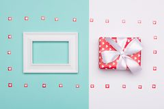 Happy Mother`s Day, Women`s Day, Valentine`s Day or Birthday Background. Pastel Blue Candy Colour flat lay web banner. Happy Mother`s Day, Women`s Day Royalty Free Stock Photography